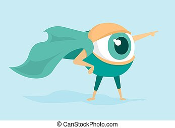 Eye super hero forcasting future with cape