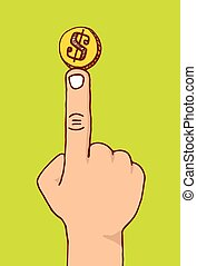 Balancing money or coin on a finger