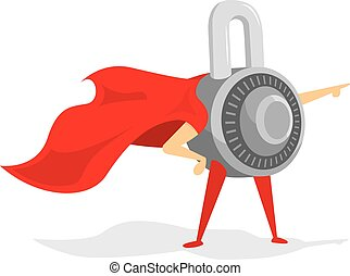 Combination padlock as security super hero lock