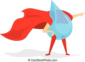 Drop of water super hero with cape - Cartoon illustration of...
