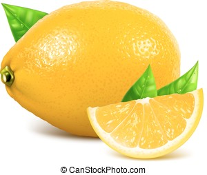 Fresh whole and slice lemons with leaves.