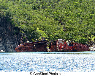 Shipwreck off St Kitts in the Caribbean Sea