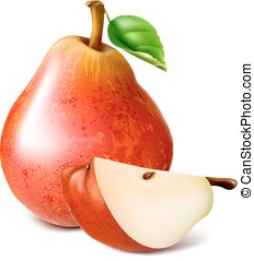 Ripe red pears with leaf.