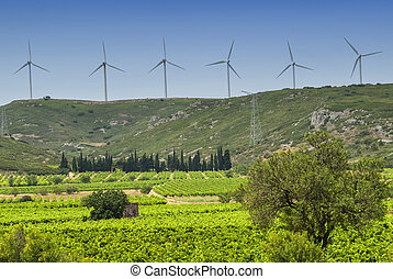 Wind turbines in France - Wind turbines and bales in...