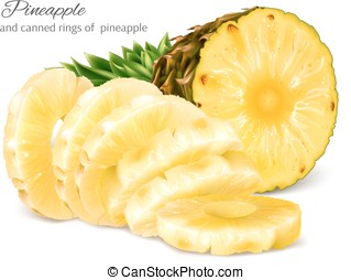 Half cut and canned sliced pineapple. Vector illustration.