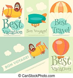 Best Vacation - Set of Travel Posters with Air Vehicles...