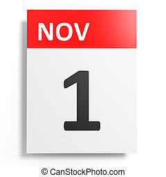 Calendar on white background. 1 November. 3D illustration.