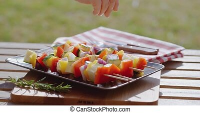 Vegetable kabob on plate close up - Close up of various...
