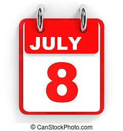 Calendar on white background. 8 July. 3D illustration.