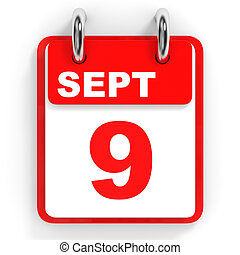 Calendar on white background. 9 September. 3D illustration.