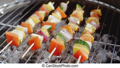 Delicious vegetable kabobs on grill - Delicious vegetable...