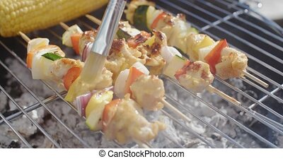 Delicious chicken and vegetable kabobs on grill