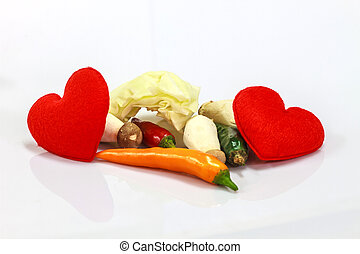 heart with fresh vegetable for cooking