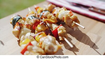 Crispy cooked chicken vegetable kabobs