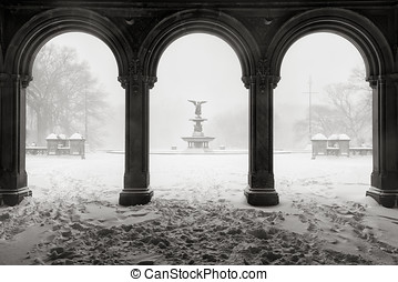 Bethesda Fountain in Central Park, Winter Snowstorm, New...