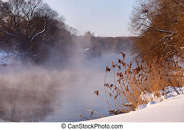 Sunny winter morning on a river