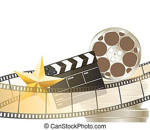 cinema background with retro filmstrip, clapper and star...