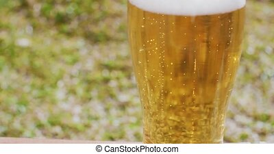 Refreshing ice cold beer or lager - Close up on the mid...