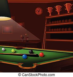 billiard balls composition on green pool table -...