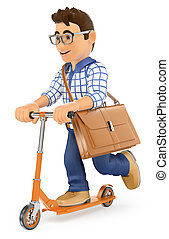3D Young man going to work on a kick scooter