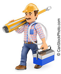 3D Electrician walking with a screwdriver and toolbox - 3d...