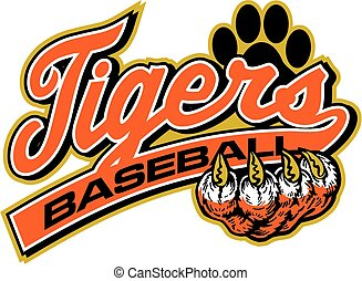 tigers baseball team design with script and tail for school,...