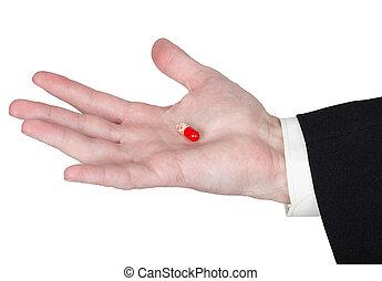 Tablet sedative drugs on palm - Tablet sedative drugs on the...