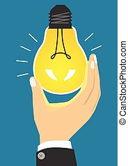glowing yellow light bulb after being turned on -...