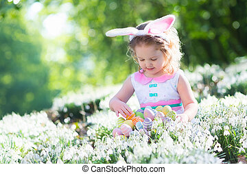 Little girl with Easter bunny ears - Little girl having fun...