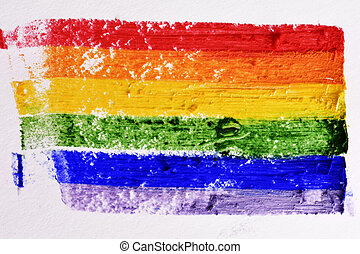 rainbow flag painted in a textured background - a rainbow...