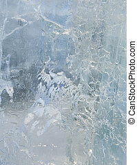 Glacial transparent wall of ice with patterns. - Glacial...