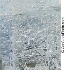 Glacial transparent wall of ice with patterns - Glacial...