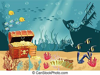 Underwater scenery with an open pirate treasure chest -...