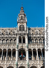 Historical buildings in Brussels Belgium with blue sky