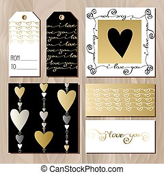 Set of cards with gold valentines day design.