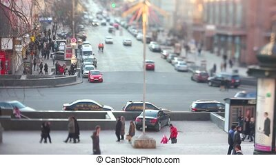busy city time lapse, tilt shift - Zooming busy city traffic...