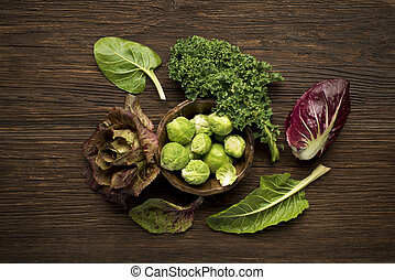 Vegetables - Brussels sprouts, kale, chard and radicchio...