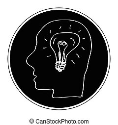 Simple doodle of a head with light - Simple hand drawn...