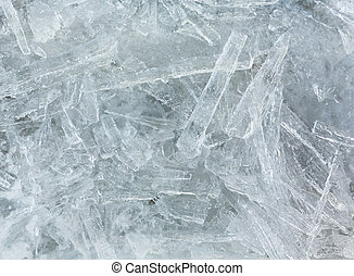 Elongated pieces of ice closeup - Many elongated pieces of...