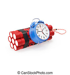 TNT, Dynamite time bomb on a white background.