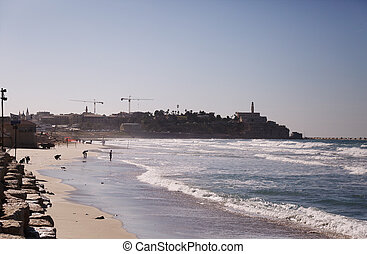 Wallpaper with winter sea and old Jaffa