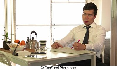 Businessman Breakfast Drinks Coffee - Technology and Asian...