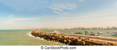 Panorama of Alexandria Bay filled with boats - Panorama of...