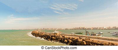 panorama, de, Alexandria, baía, enchido, com, boats,...