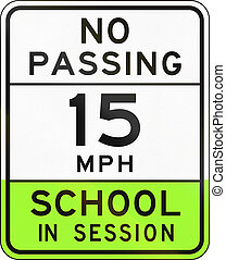 Road sign used in the US state of Arizona - school zone.