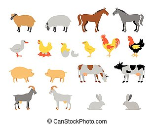 Farm animal collection set. Flat style character.