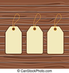 Labels on a wooden background