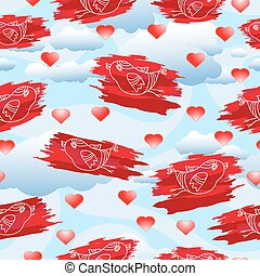 Vector seamless pattern with birds and hearts on cloudy background.