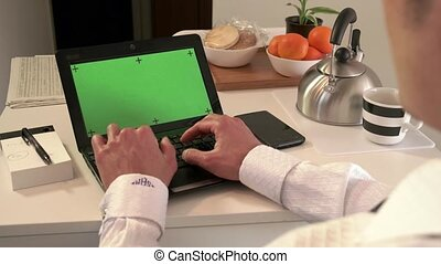 Green Screen Laptop Computer Pc - Asian man typing on...