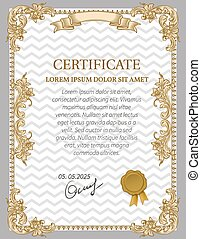 Gold Certificate of Achievement coupon award Vintage Frame